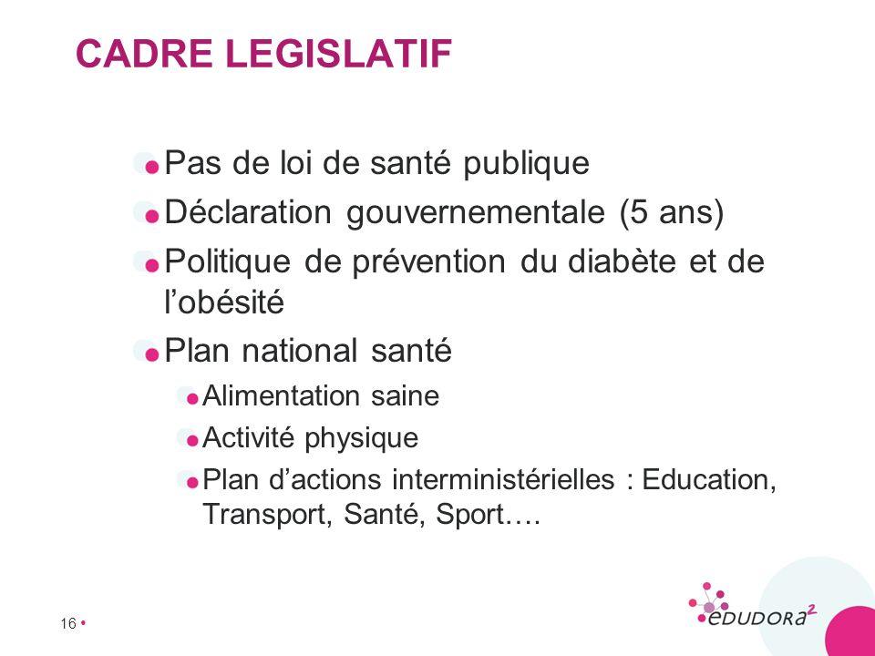 16 CADRE LEGISLATIF Pas de loi de santé publique Déclaration gouvernementale (5 ans) Politique de prévention du diabète et de lobésité Plan national s