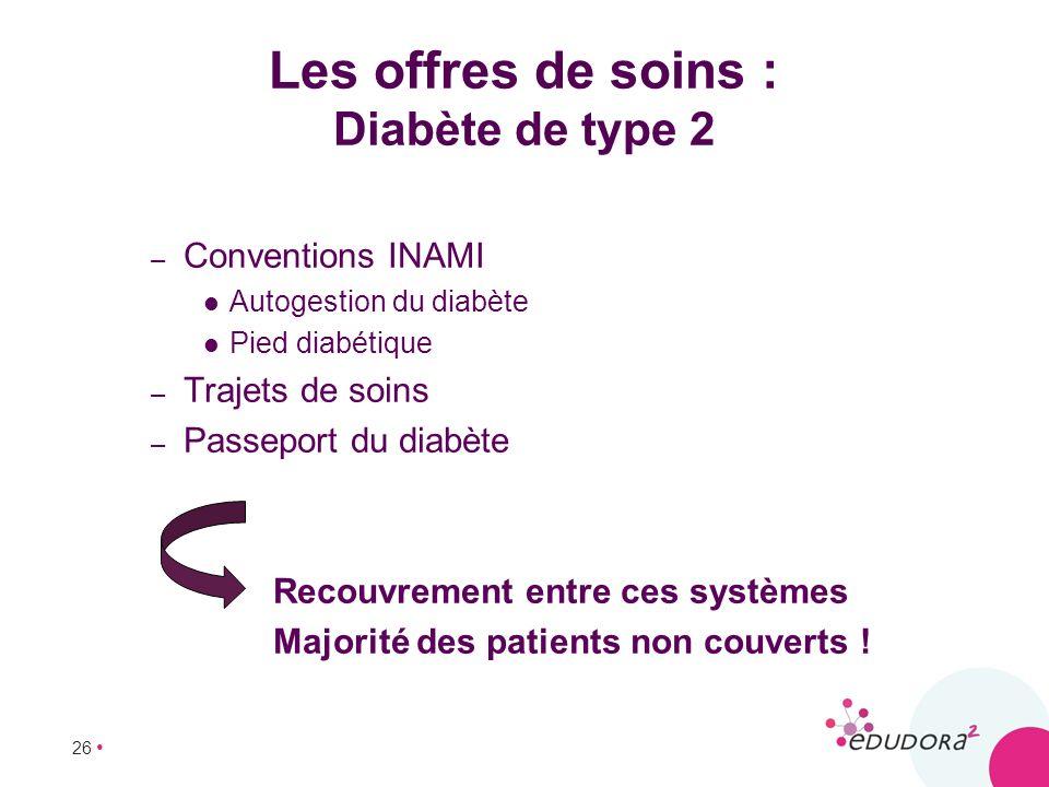 26 Les offres de soins : Diabète de type 2 – Conventions INAMI Autogestion du diabète Pied diabétique – Trajets de soins – Passeport du diabète Recouv