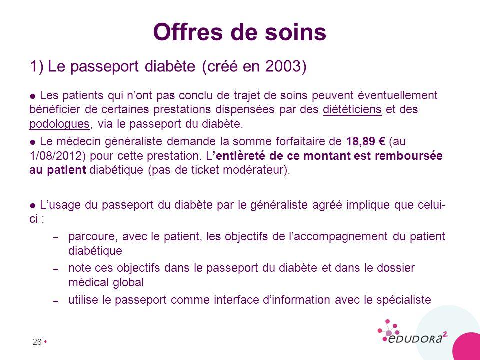 28 Offres de soins 1) Le passeport diabète (créé en 2003) Les patients qui nont pas conclu de trajet de soins peuvent éventuellement bénéficier de cer