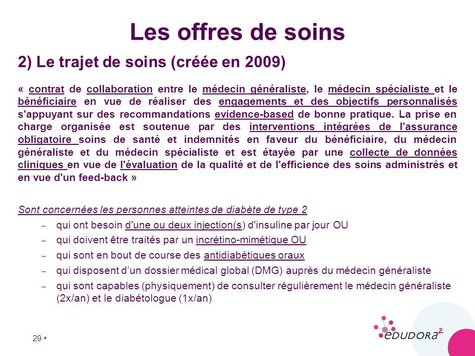 29 Les offres de soins 2) Le trajet de soins (créée en 2009) « contrat de collaboration entre le médecin généraliste, le médecin spécialiste et le bén