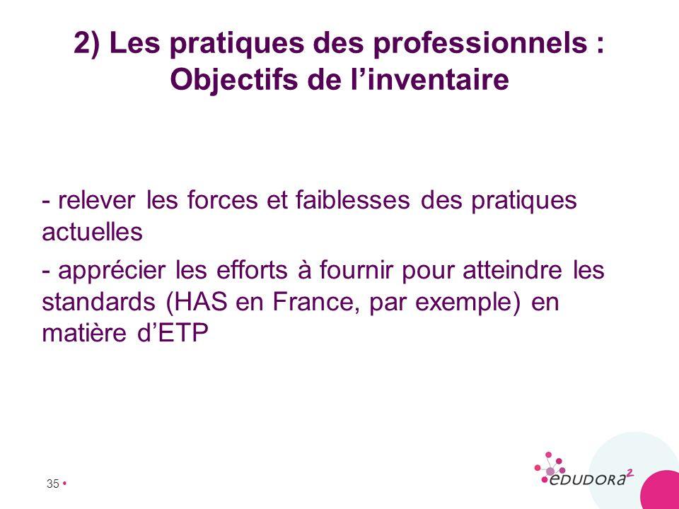 35 2) Les pratiques des professionnels : Objectifs de linventaire - relever les forces et faiblesses des pratiques actuelles - apprécier les efforts à