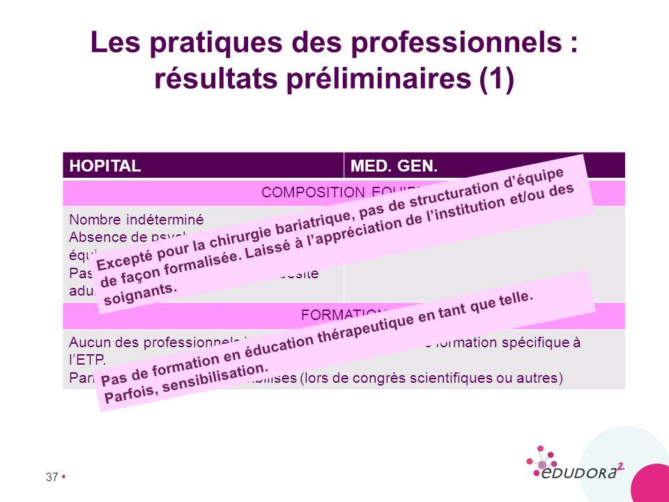 37 Les pratiques des professionnels : résultats préliminaires (1) HOPITALMED. GEN. COMPOSITION EQUIPE Nombre indéterminé Absence de psychologues dans