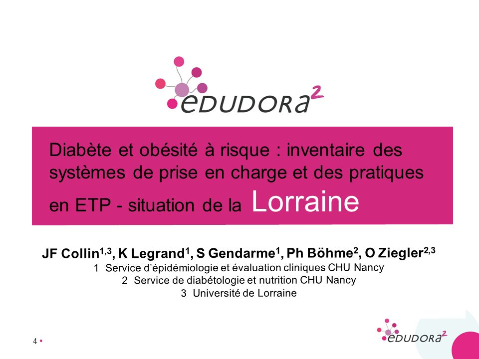 4 Diabète et obésité à risque : inventaire des systèmes de prise en charge et des pratiques en ETP - situation de la Lorraine JF Collin 1,3, K Legrand