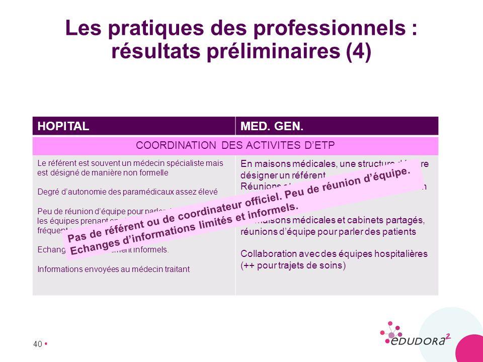 40 Les pratiques des professionnels : résultats préliminaires (4) HOPITALMED. GEN. COORDINATION DES ACTIVITES DETP Le référent est souvent un médecin
