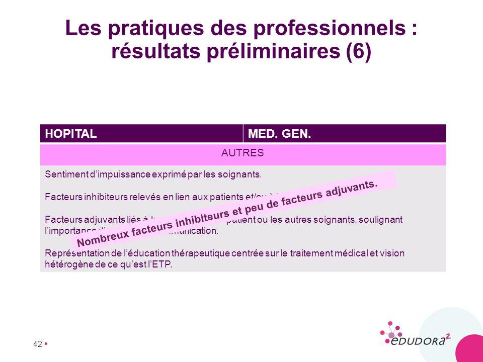42 Les pratiques des professionnels : résultats préliminaires (6) HOPITALMED. GEN. AUTRES Sentiment dimpuissance exprimé par les soignants. Facteurs i