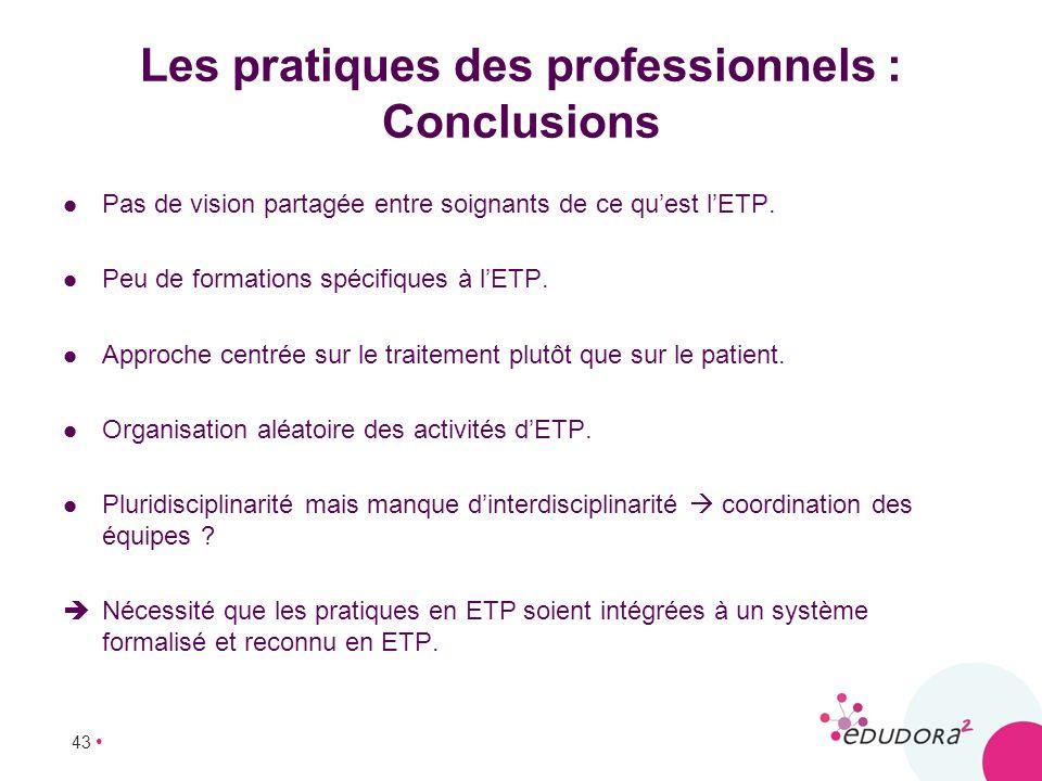 43 Les pratiques des professionnels : Conclusions Pas de vision partagée entre soignants de ce quest lETP. Peu de formations spécifiques à lETP. Appro