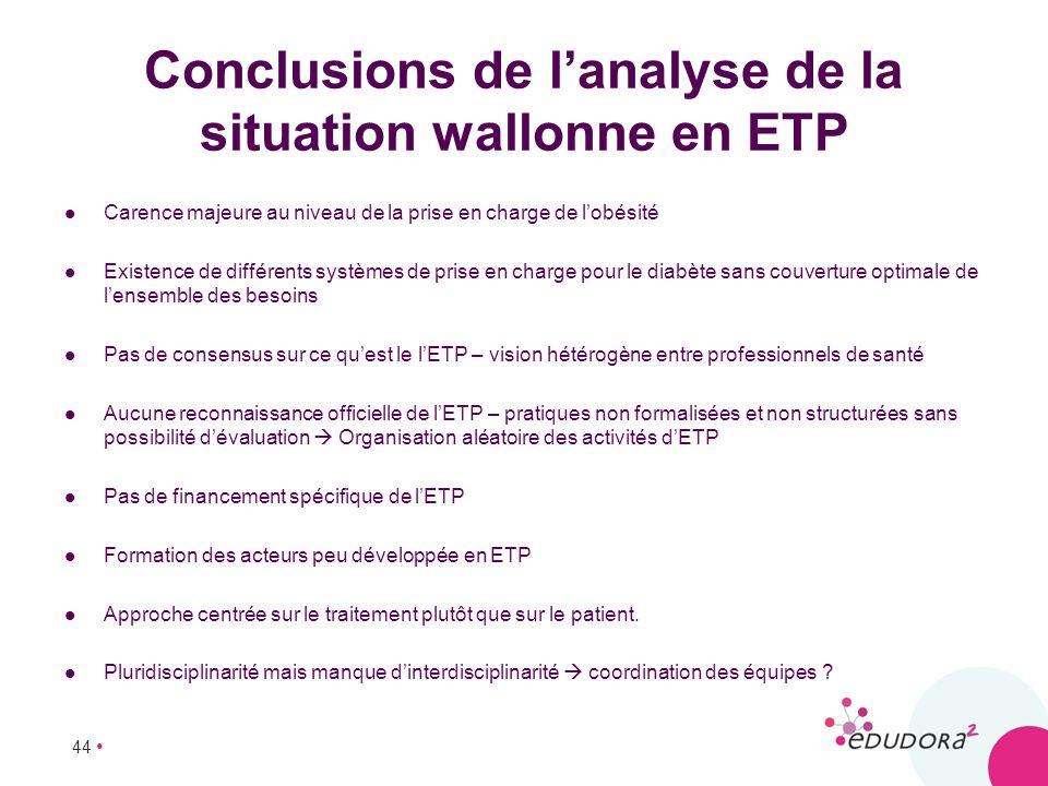 44 Conclusions de lanalyse de la situation wallonne en ETP Carence majeure au niveau de la prise en charge de lobésité Existence de différents système