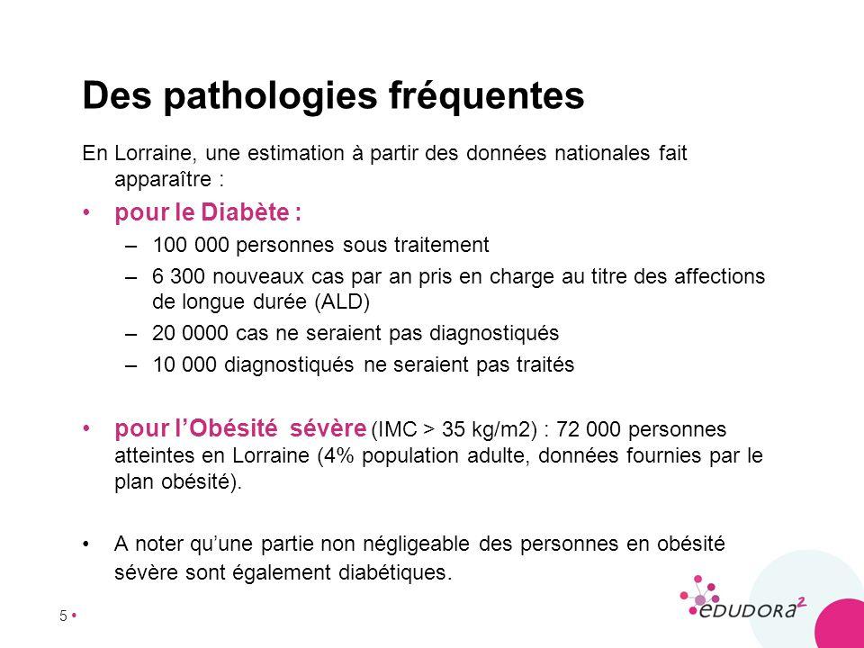 5 En Lorraine, une estimation à partir des données nationales fait apparaître : pour le Diabète : –100 000 personnes sous traitement –6 300 nouveaux c