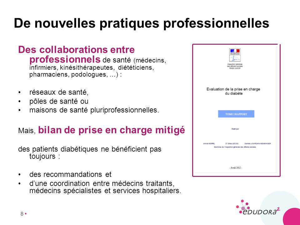 8 De nouvelles pratiques professionnelles Des collaborations entre professionnels de santé (médecins, infirmiers, kinésithérapeutes, diététiciens, pha