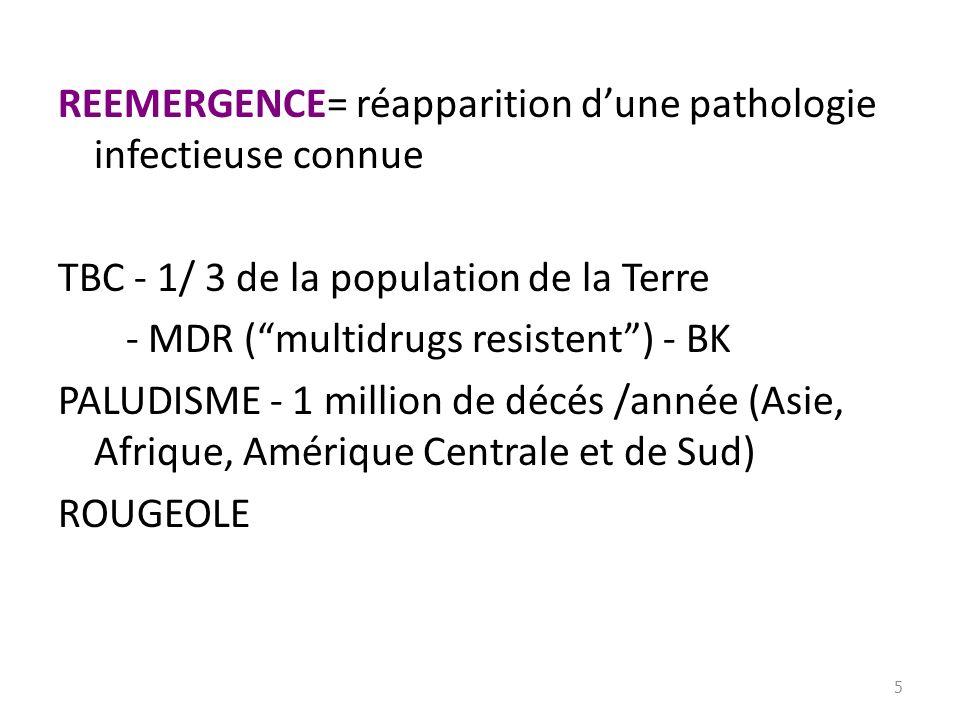 REEMERGENCE= réapparition dune pathologie infectieuse connue TBC - 1/ 3 de la population de la Terre - MDR (multidrugs resistent) - BK PALUDISME - 1 m