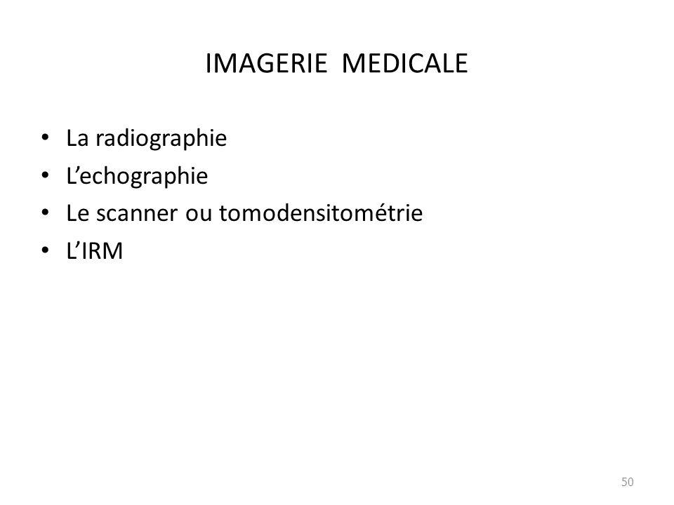 IMAGERIE MEDICALE La radiographie Lechographie Le scanner ou tomodensitométrie LIRM 50