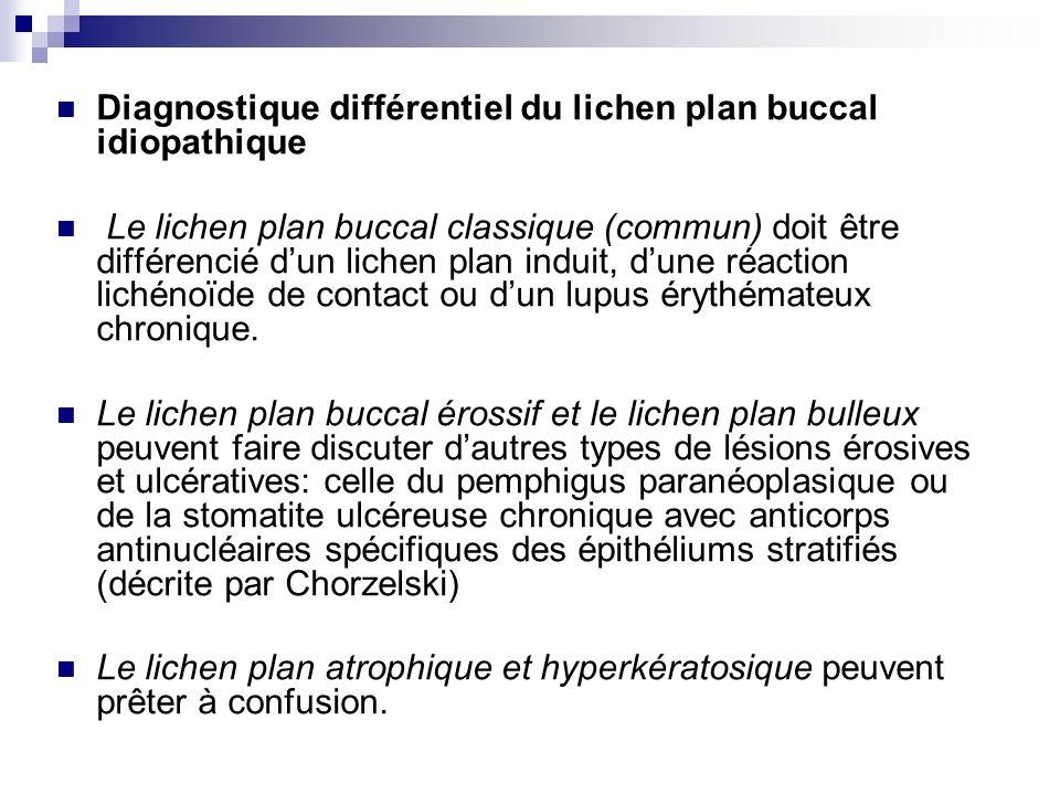 Traitement : corticothérapie locale (application de triamonolone dans une excipient adapté à la muqueuse Corabase) ou mixte (injection souslésionelle, antihistaminiques,anxiolytiques, psychothérapie de soutien courte corticothérapie générale (prednison 0,5 – 1 mg/kg/j, 10 jours ou triamcinolone retard 80mg par voie im., puis 40mg à répéter à intervalle dun mois pendant 3 à 6 mois autres : bains de bouche de cyclosporine, le tacrolimus et le pimecrolinus (0,1%)(le lichen plan érosif résistant à la corticothérapie ; traitement et des mesures dhygiène et de suppression des iritations locales (larrêt du tabac) assainissement dentaire et prothétique), la recommandation déviter le surmenage et le stress surveillance périodique (au moins annuelle).