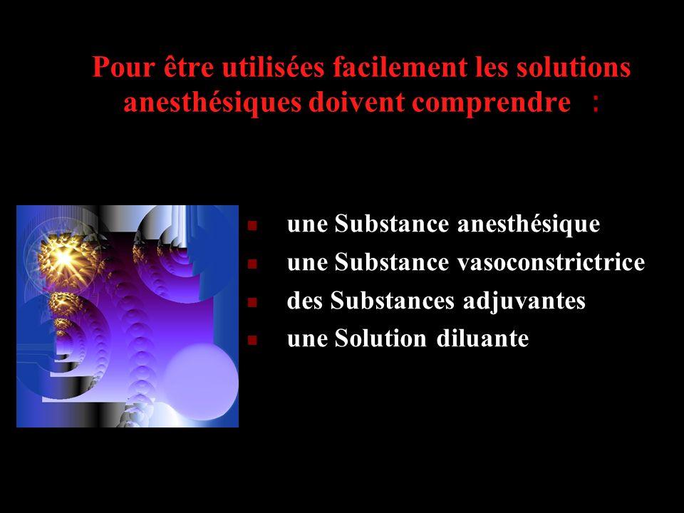 Pour être utilisées facilement les solutions anesthésiques doivent comprendre : une Substance anesthésique une Substance vasoconstrictrice des Substan