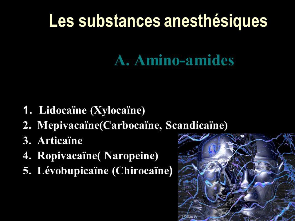 Les substances anesthésiques A. Amino-amides 1. Lidocaïne (Xylocaïne) 2. Mepivacaïne(Carbocaïne, Scandicaïne) 3. Articaïne 4. Ropivacaïne( Naropeine)
