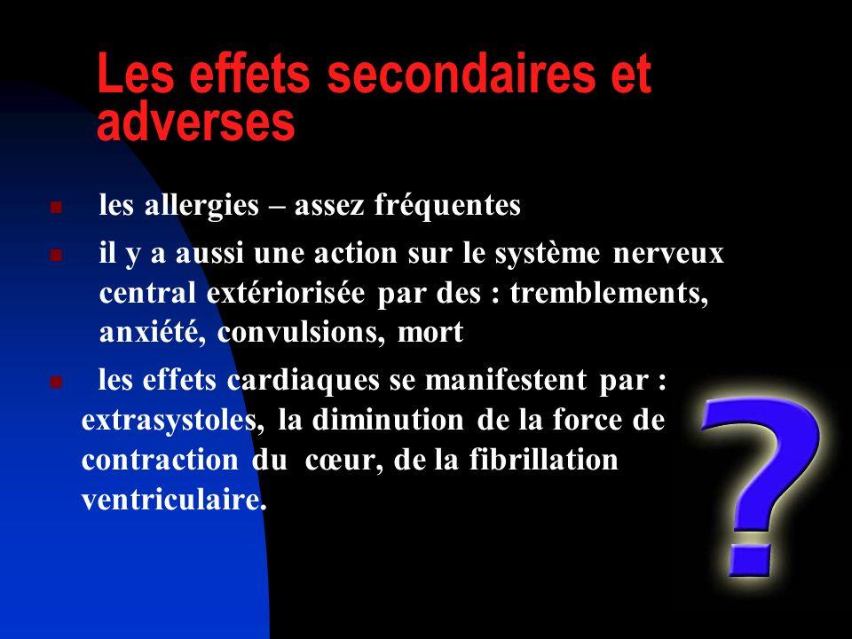 Les effets secondaires et adverses les allergies – assez fréquentes il y a aussi une action sur le système nerveux central extériorisée par des : trem