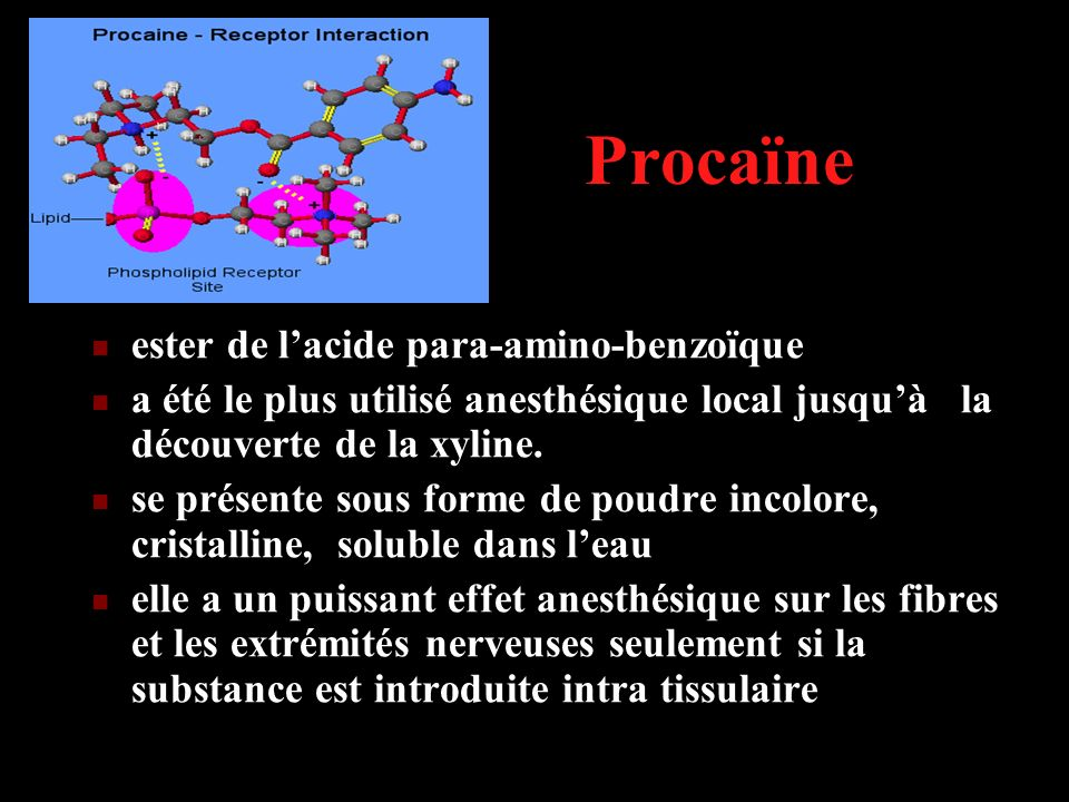 Procaïne ester de lacide para-amino-benzoïque a été le plus utilisé anesthésique local jusquà la découverte de la xyline. se présente sous forme de po