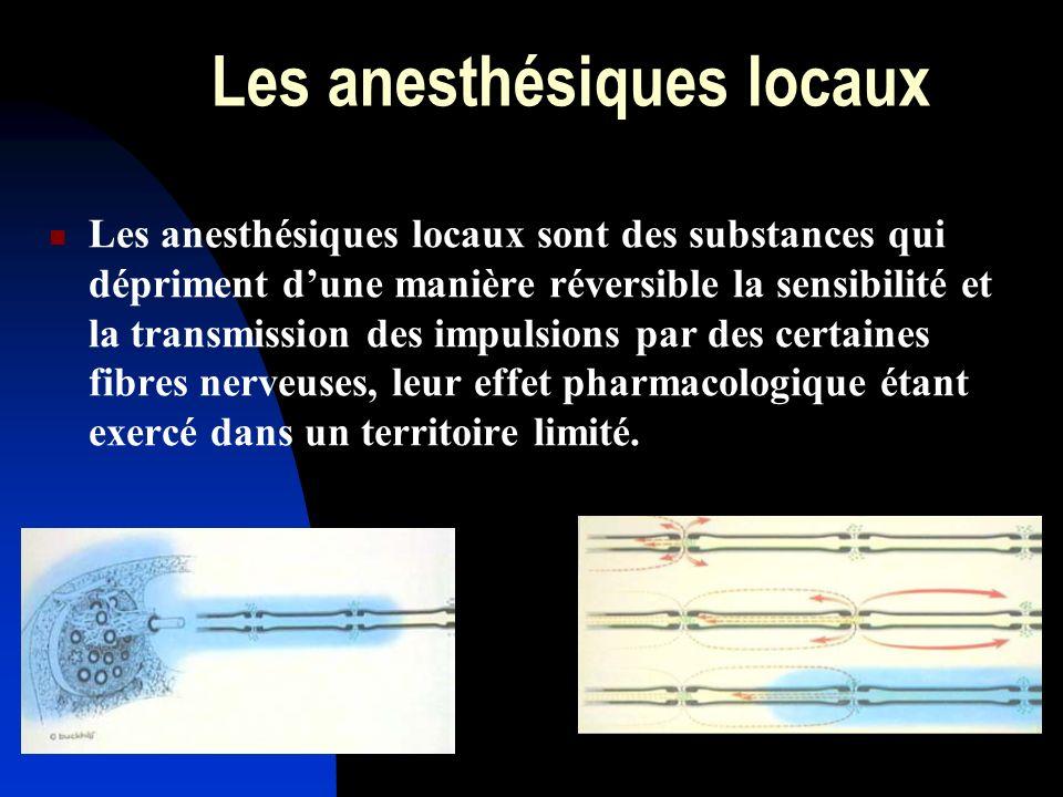 Les anesthésiques locaux Les anesthésiques locaux sont des substances qui dépriment dune manière réversible la sensibilité et la transmission des impu