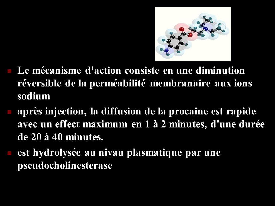 Le mécanisme d'action consiste en une diminution réversible de la perméabilité membranaire aux ions sodium après injection, la diffusion de la procain