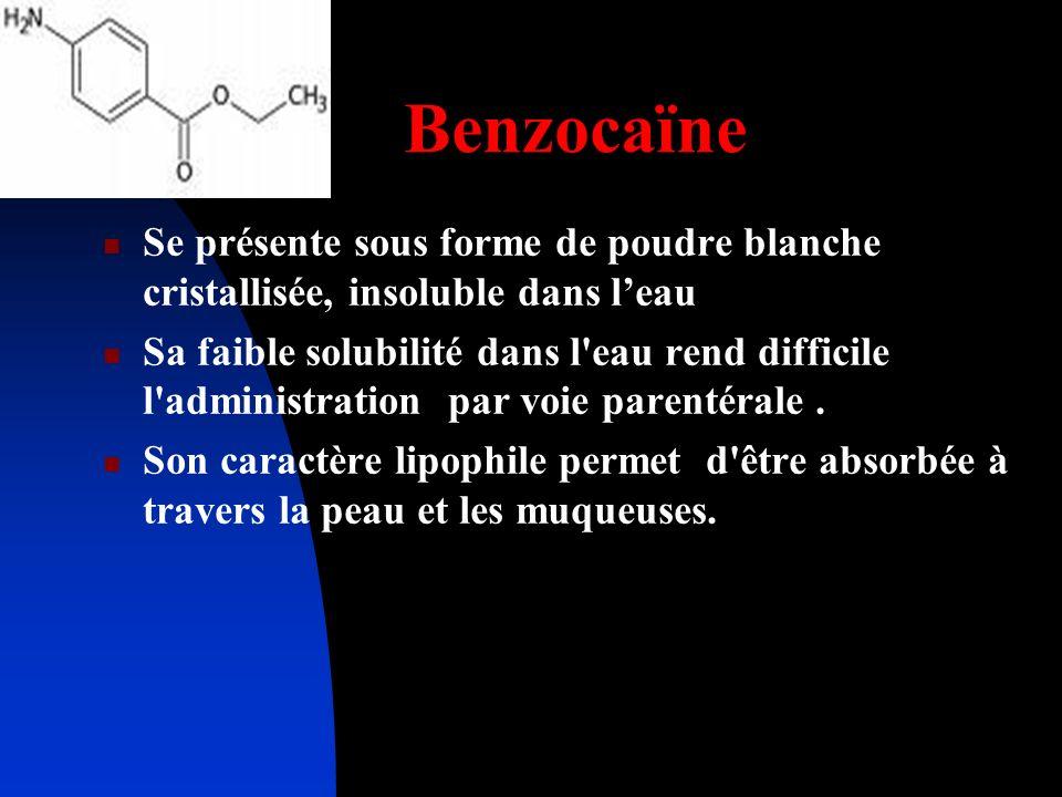 Benzocaïne Se présente sous forme de poudre blanche cristallisée, insoluble dans leau Sa faible solubilité dans l'eau rend difficile l'administration