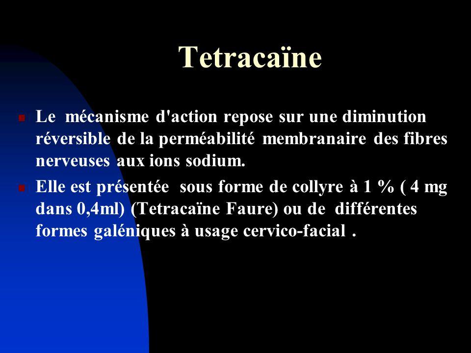 Tetracaïne Le mécanisme d'action repose sur une diminution réversible de la perméabilité membranaire des fibres nerveuses aux ions sodium. Elle est pr
