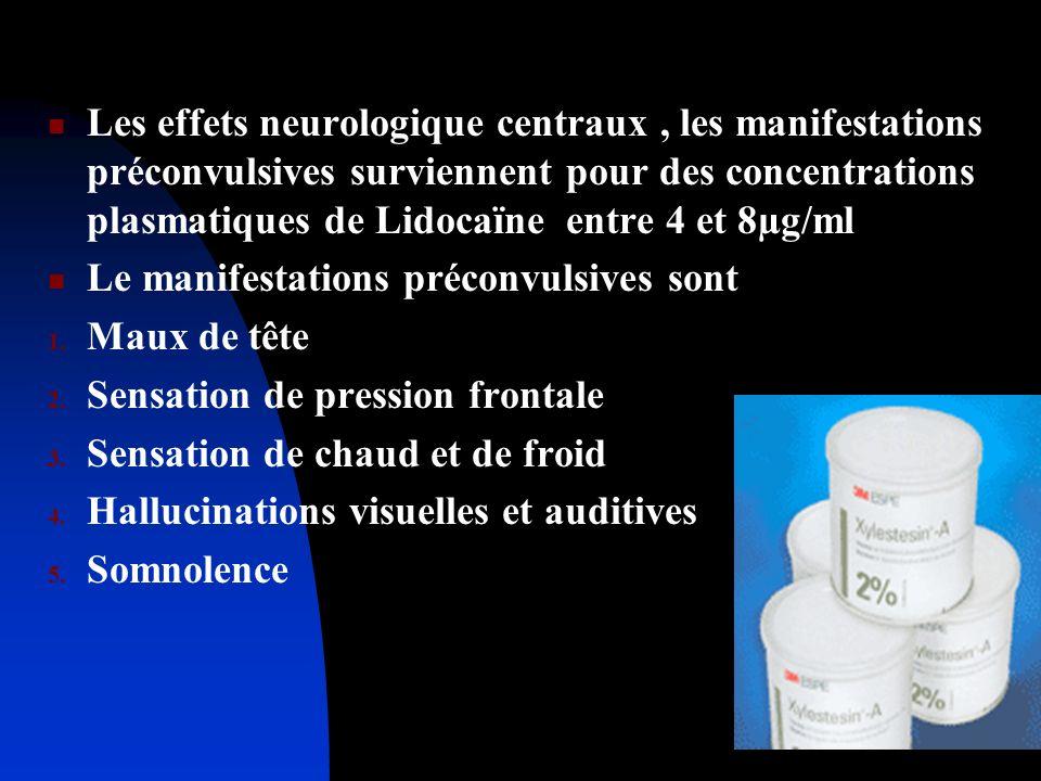 Les effets neurologique centraux, les manifestations préconvulsives surviennent pour des concentrations plasmatiques de Lidocaïne entre 4 et 8µg/ml Le