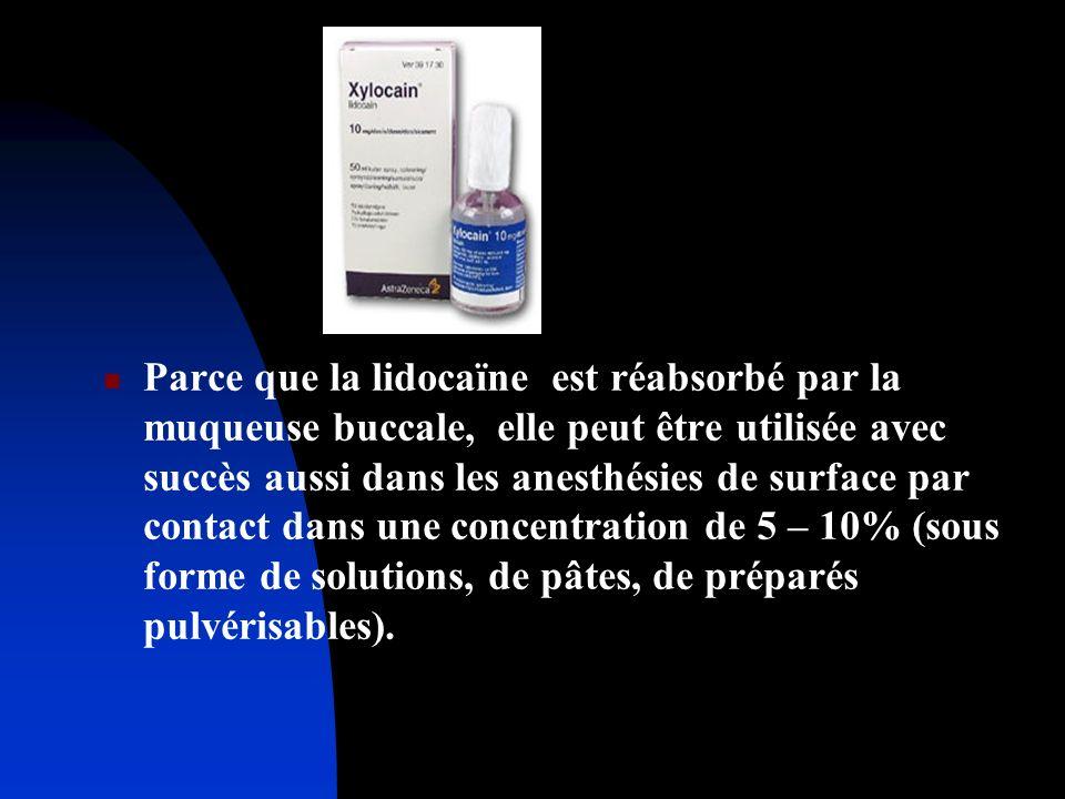 Parce que la lidocaïne est réabsorbé par la muqueuse buccale, elle peut être utilisée avec succès aussi dans les anesthésies de surface par contact da