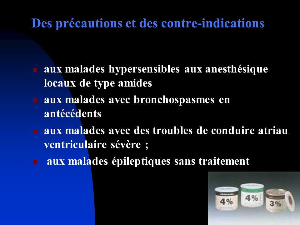 Des précautions et des contre-indications aux malades hypersensibles aux anesthésique locaux de type amides aux malades avec bronchospasmes en antécéd