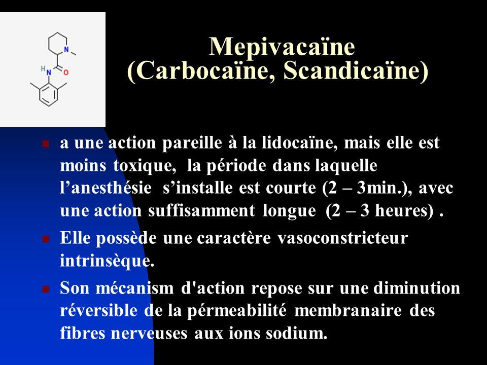 Mepivacaïne (Carbocaïne, Scandicaïne) a une action pareille à la lidocaïne, mais elle est moins toxique, la période dans laquelle lanesthésie sinstall