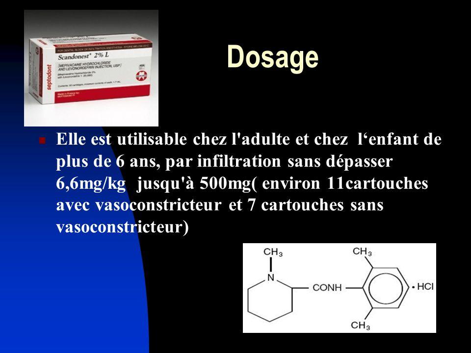 Dosage Elle est utilisable chez l'adulte et chez lenfant de plus de 6 ans, par infiltration sans dépasser 6,6mg/kg jusqu'à 500mg( environ 11cartouches