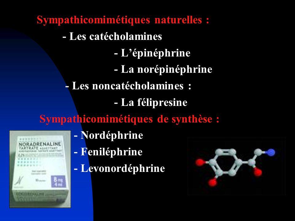 Sympathicomimétiques naturelles : - Les catécholamines - Lépinéphrine - La norépinéphrine - Les noncatécholamines : - La félipresine Sympathicomimétiq