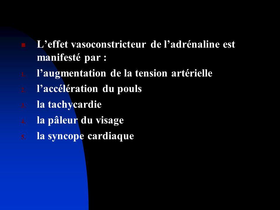 Leffet vasoconstricteur de ladrénaline est manifesté par : 1. laugmentation de la tension artérielle 2. laccélération du pouls 3. la tachycardie 4. la
