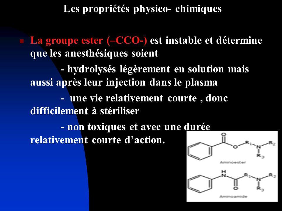 Les propriétés physico- chimiques La groupe ester (–CCO-) est instable et détermine que les anesthésiques soient - hydrolysés légèrement en solution m