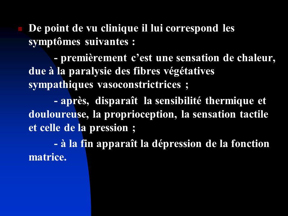 De point de vu clinique il lui correspond les symptômes suivantes : - premièrement cest une sensation de chaleur, due à la paralysie des fibres végéta