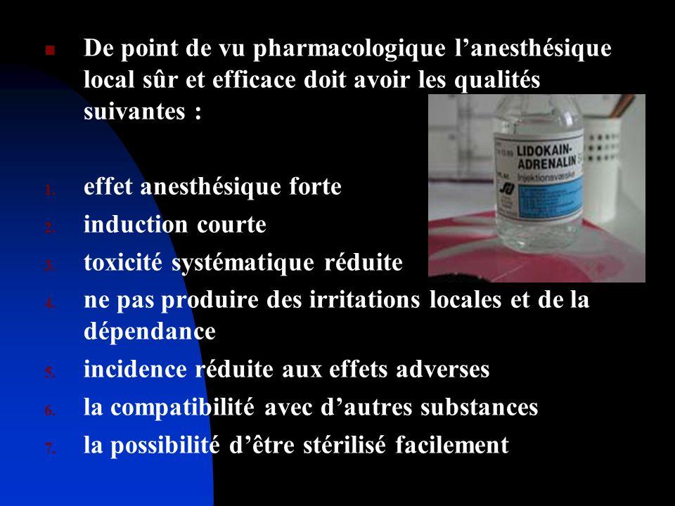 De point de vu pharmacologique lanesthésique local sûr et efficace doit avoir les qualités suivantes : 1. effet anesthésique forte 2. induction courte
