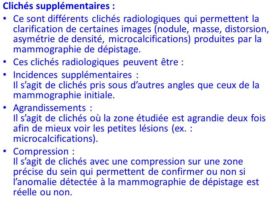 Clichés supplémentaires : Ce sont différents clichés radiologiques qui permettent la clarification de certaines images (nodule, masse, distorsion, asy