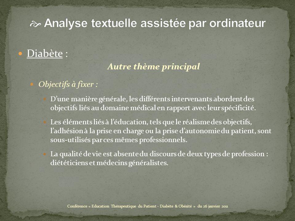 Diabète : Autre thème principal Objectifs à fixer : Dune manière générale, les différents intervenants abordent des objectifs liés au domaine médical en rapport avec leur spécificité.