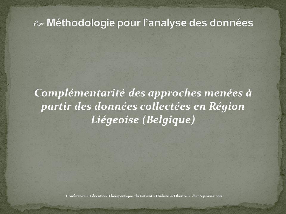 Complémentarité des approches menées à partir des données collectées en Région Liégeoise (Belgique)