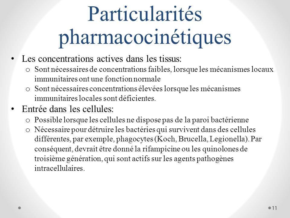 Particularités pharmacocinétiques Les concentrations actives dans les tissus: o Sont nécessaires de concentrations faibles, lorsque les mécanismes loc