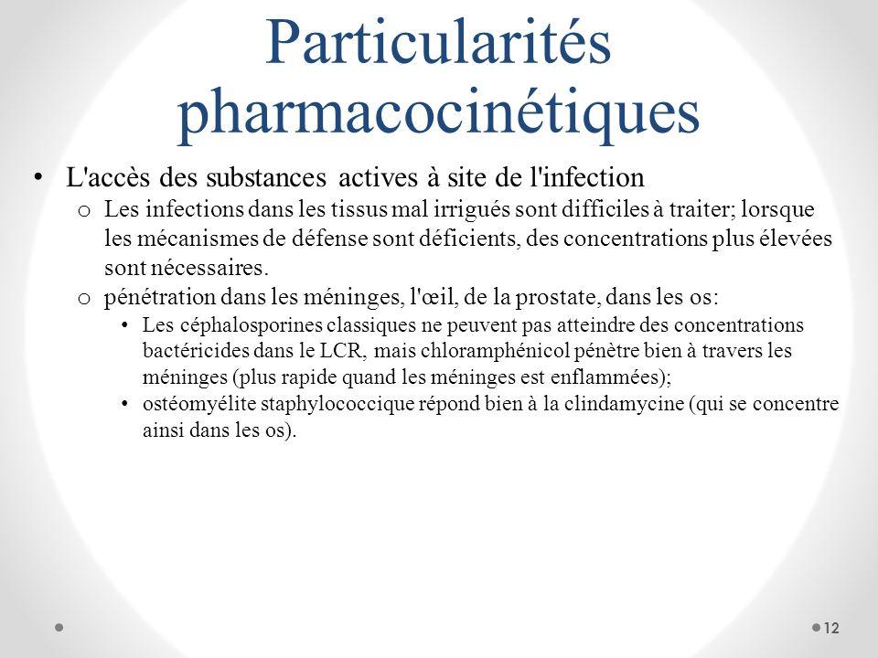 Particularités pharmacocinétiques L'accès des substances actives à site de l'infection o Les infections dans les tissus mal irrigués sont difficiles à