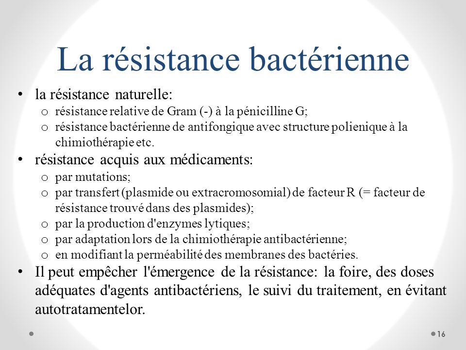 La résistance bactérienne la résistance naturelle: o résistance relative de Gram (-) à la pénicilline G; o résistance bactérienne de antifongique avec