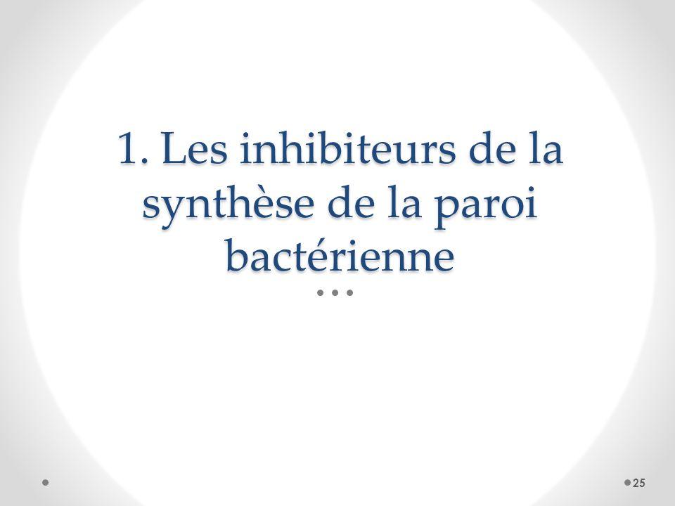 1. Les inhibiteurs de la synthèse de la paroi bactérienne 25