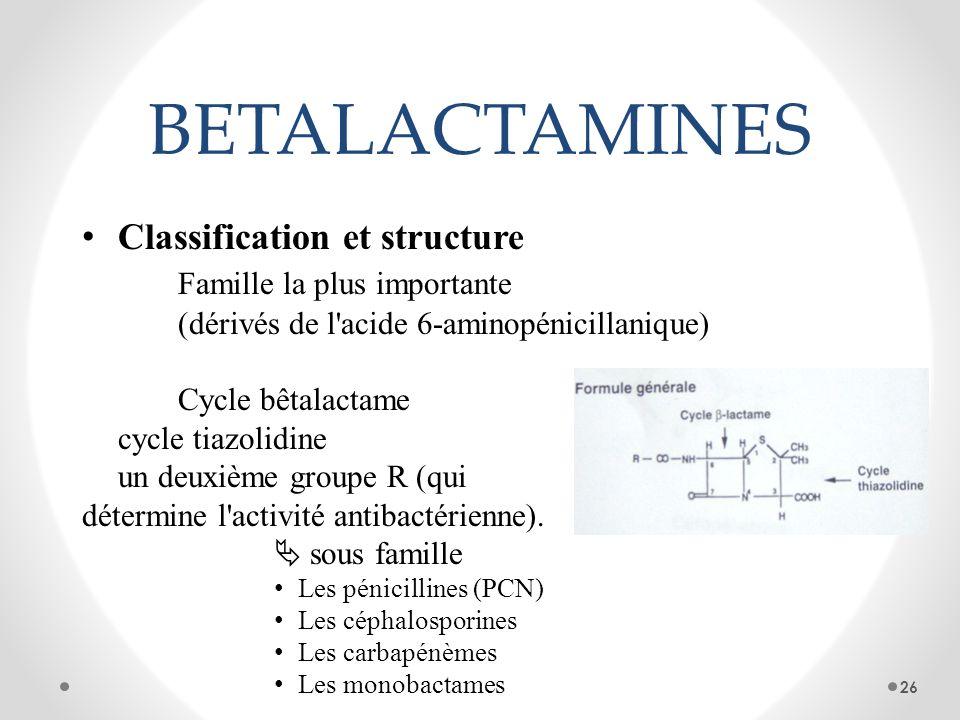 BETALACTAMINES Classification et structure Famille la plus importante (dérivés de l'acide 6-aminopénicillanique) Cycle bêtalactame cycle tiazolidine u