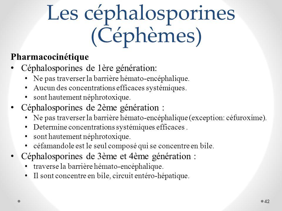 Les céphalosporines (Céphèmes) Pharmacocinétique Céphalosporines de 1ère génération: Ne pas traverser la barrière hémato-encéphalique. Aucun des conce