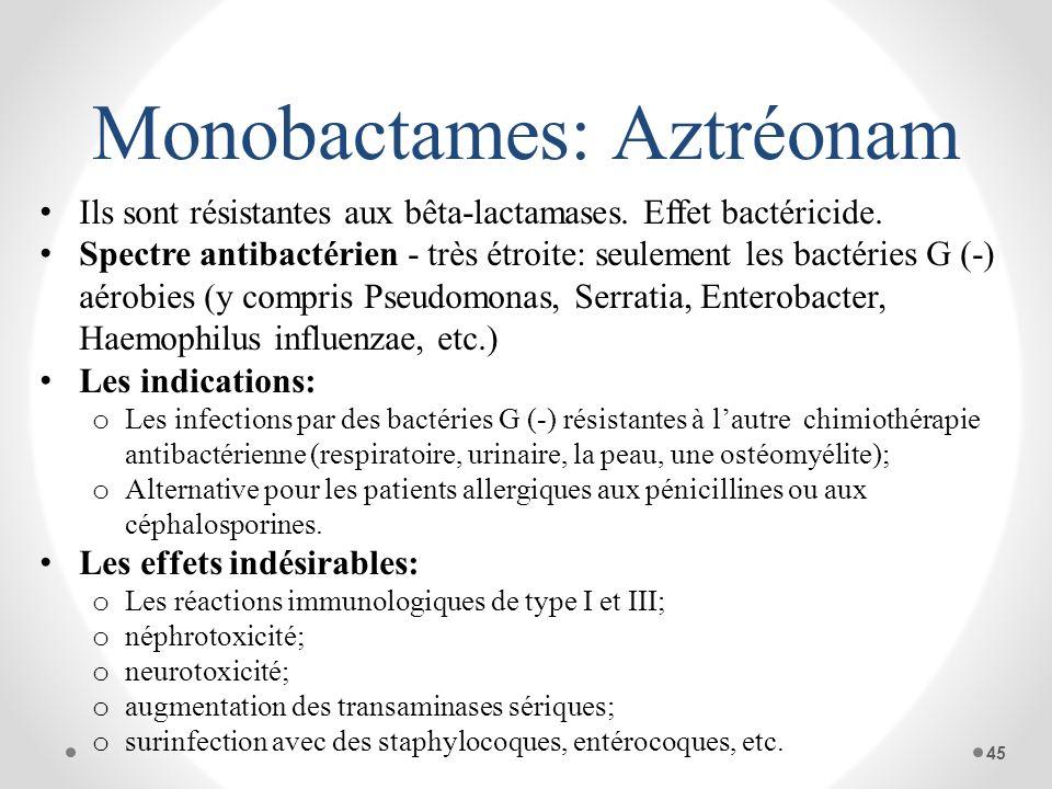 Monobactames: Aztréonam Ils sont résistantes aux bêta-lactamases. Effet bactéricide. Spectre antibactérien - très étroite: seulement les bactéries G (