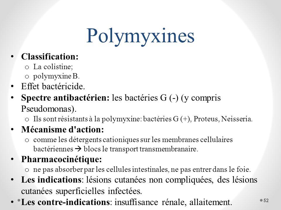 Polymyxines Classification: o La colistine; o polymyxine B. Effet bactéricide. Spectre antibactérien: les bactéries G (-) (y compris Pseudomonas). o I