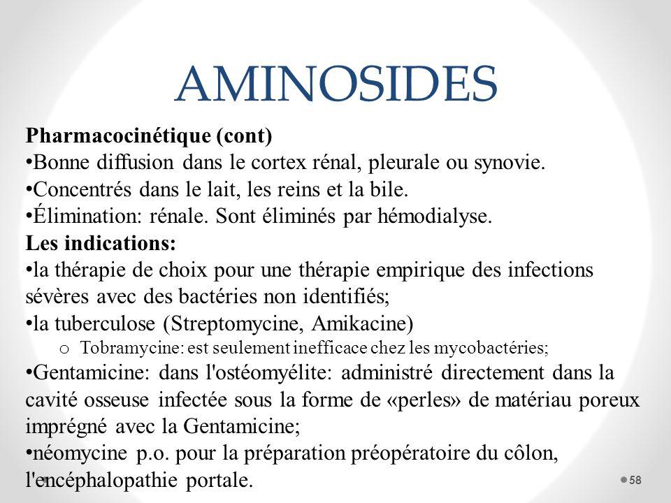 AMINOSIDES Pharmacocinétique (cont) Bonne diffusion dans le cortex rénal, pleurale ou synovie. Concentrés dans le lait, les reins et la bile. Éliminat