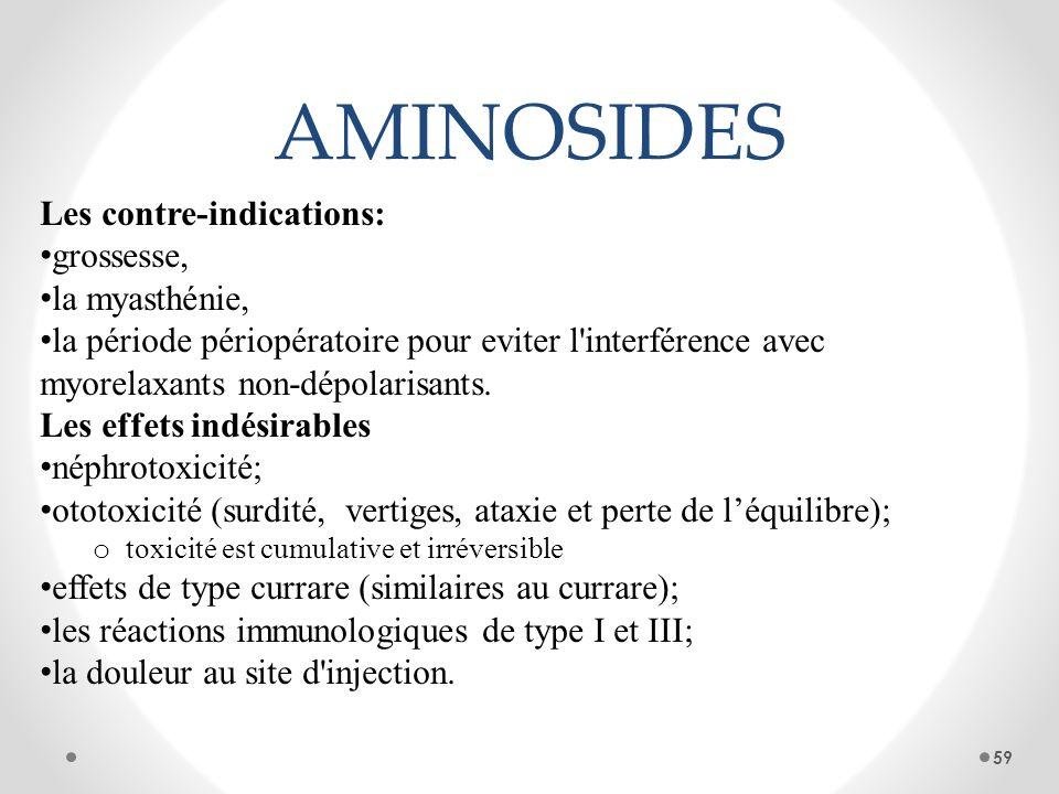 AMINOSIDES Les contre-indications: grossesse, la myasthénie, la période périopératoire pour eviter l'interférence avec myorelaxants non-dépolarisants.