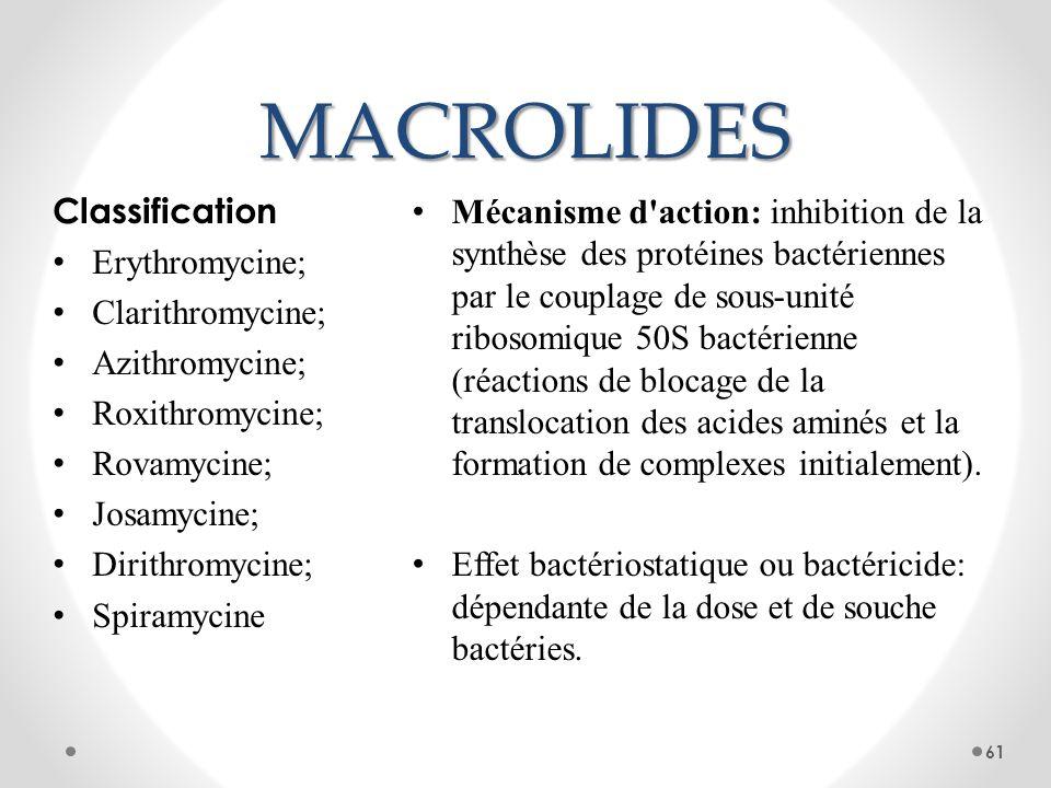 MACROLIDES Mécanisme d'action: inhibition de la synthèse des protéines bactériennes par le couplage de sous-unité ribosomique 50S bactérienne (réactio