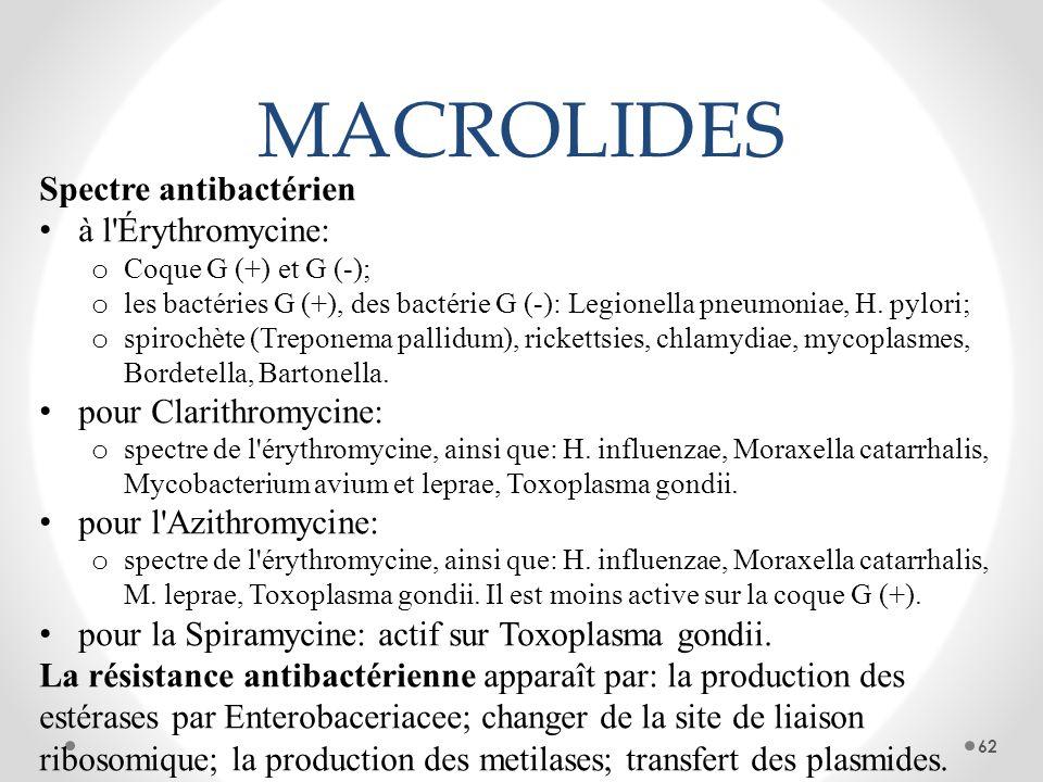 MACROLIDES Spectre antibactérien à l'Érythromycine: o Coque G (+) et G (-); o les bactéries G (+), des bactérie G (-): Legionella pneumoniae, H. pylor