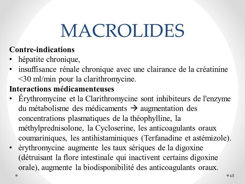 MACROLIDES Contre-indications hépatite chronique, insuffisance rénale chronique avec une clairance de la créatinine <30 ml/min pour la clarithromycine